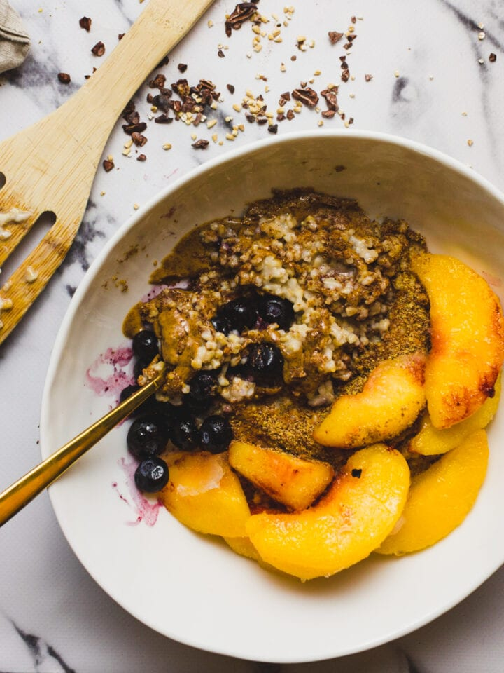 Healthy Oatmeal With Peaches And Blueberries