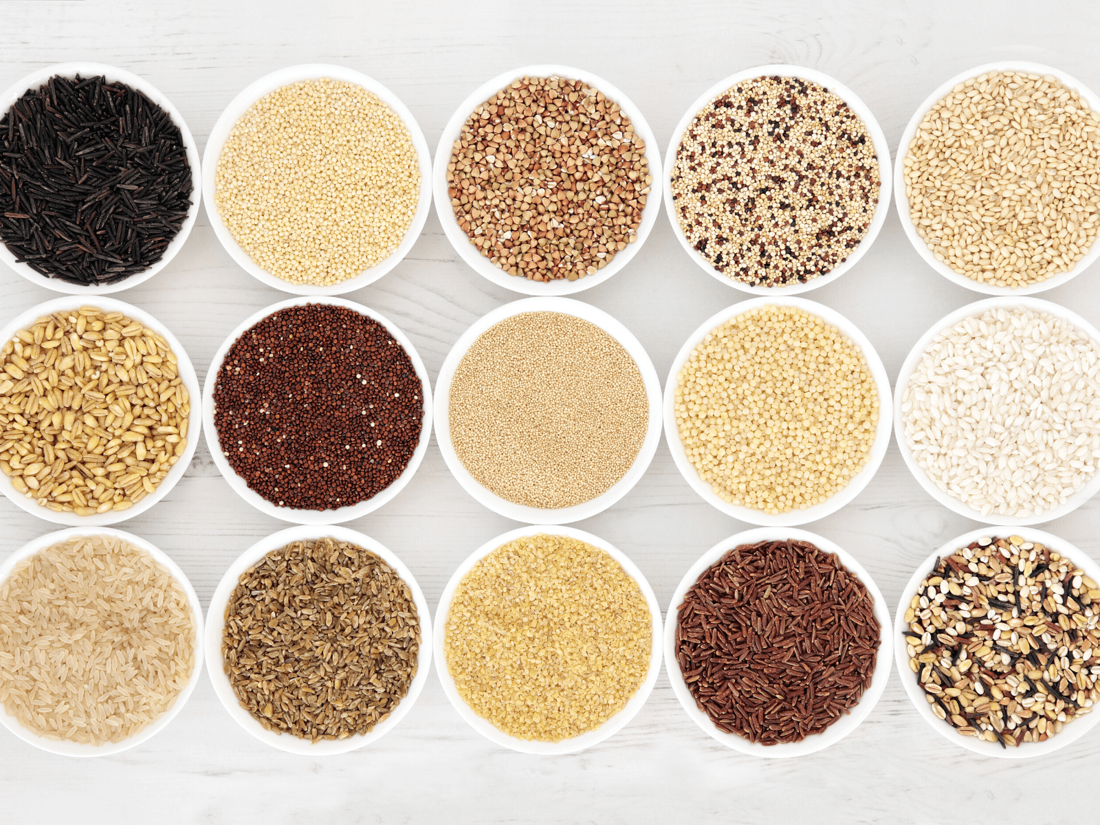 Overhead photograph of grains that can be soaked.
