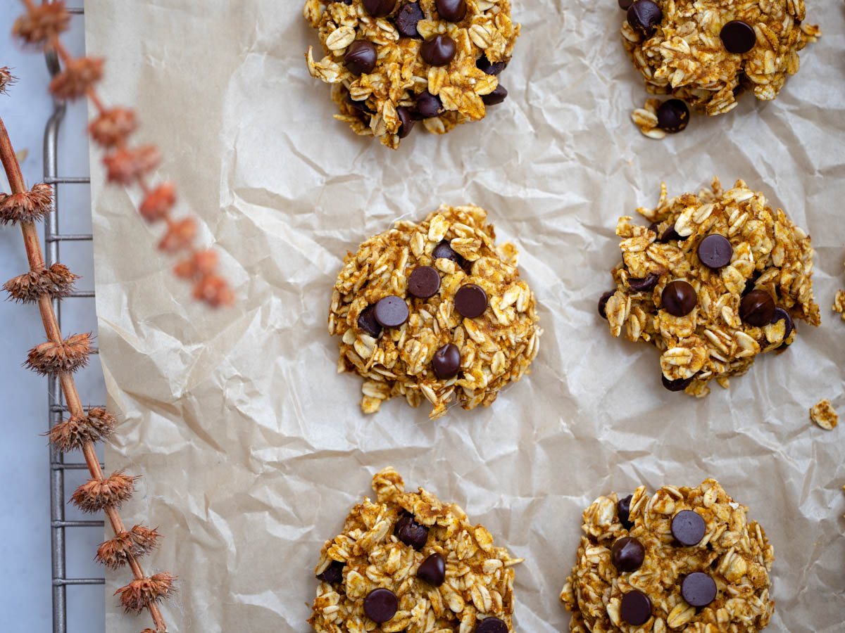 Overhead shot of healthier pumpkin chocolate chip cookies on a baking tray with wrinkled parchment paper. Autumn dried flowers surround the scene.